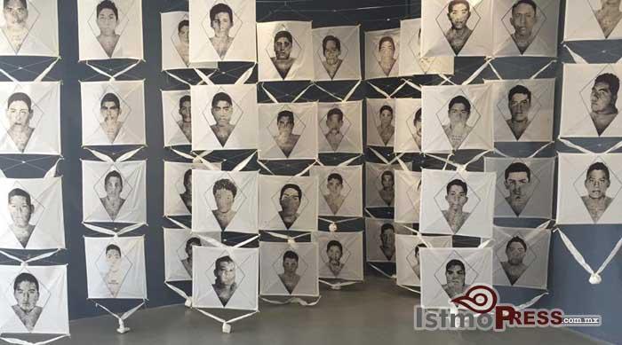 Papalotes de Toledo y carteles por Ayotzinapa en Juchitán