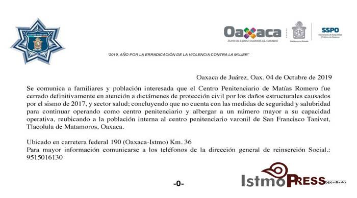 04 Oct cierre penal Matías Romero