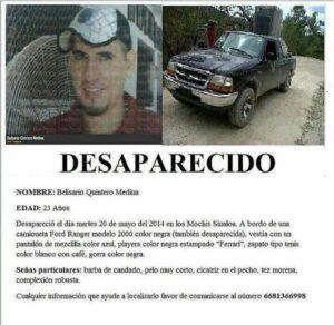 Foto 1. Cartel de búsqueda de Belisario Quintero Medina. Crédito_ Rastreadoras de El Fuerte y Zona Norte de Sinaloa
