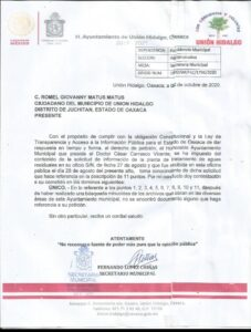RESPUESTA GOBIENRO MUNICIPAL