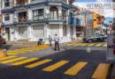 Repinta de pasos peatonales, realiza Dirección de Tránsito y Vialidad de Juchitán