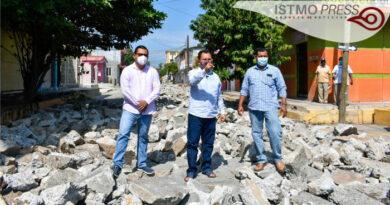 repavimentación en calle 5 de mayo Juchitán